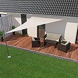 IBIZSAIL Sonnensegel wasserabweisend Sonnenschutz für Garten Balkon aus PES dreieckig-600 x 420 x 420 cm-Weiss(inkl. Spannseilen)