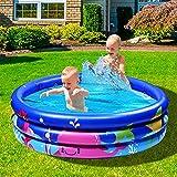 Joyjoz Familie Pool, Kinderpool für Schwimmen Spielen Schlafen, Kinder Aufstellpool Planschbecken Aufblasbare Pool, Aufblasbare Badewanne, 3-Ring Embossing(120cm, Blau)