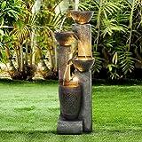 WATURE 101cm Gartenwasserspiel - Moderner Outdoor Gartenbrunnen mit beruhigende Wassergeräusche, Elektrisches LED-Licht Wasserfall Schöner Wasserbrunnen für Garden&Startseite Kunst Dekor