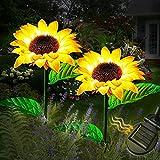 Solar Sonnenblume Licht LED,2Packs Solar Blume Beleuchtung IP65 Wasserdicht,Auto Ein/Aus,Solar Sonnenblumen Lampe Draussen Künstlich Blume Licht for Garten Weihnachten Festival Party Dekoration