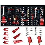 LZQ Werkzeuglochwand Werkzeugwand Lochwand aus Metall mit 17 teilge Hakenset 120 x 60 x 2 cm Schwarz und Rot Werkzeugwand Lochwand für Werkstatt