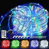 20M LED Schlauch Lichterkette Außen, 200er LED Lichtschlauch Außen IP68, 16 Farben Lichterkette Innen Strombetrieben, Patio Lichterschlauch Strom mit Fernbedienung für Zimmer Weihnachten Hochzeit
