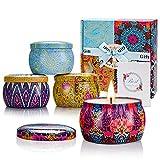 Yinuo Mirror Duftkerzen Geschenkset für Frauen,Geschenke für Frauen,4*4,4 Oz Sojawachs Aromatherapie Kerzen für Muttertag,Weihnachten,Geburtstag, Valentinstag, Bad, Yoga