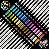 Metallic Marker Stifte,YITHINC 30 Brillante Farben Metallischen Stift für Scrapbooking, Herstellung von Geschenkkarten,Felsmalerei, Schwarzes Papier, Stoff, Metall, Keramik,Weinglas-Feinspitze