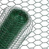 ESTEXO Sechseckgeflecht Volierendraht Kaninchendraht 1 x 25 m Grün Drahtzaun Geflecht Kleintiergehege Hasendraht 6-Eck Zaun