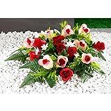 Unbekannt Grabaufleger Rosen, Grabschmuck Kunstblumen Grabdekoration Rosenblüten Friedhofsgesteck, Blütenfreude, 60 x 25 x 7 cm, rosa & rot