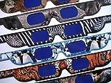 Set Tierbrillen mit Holo-Effekt! 12x HoloSpex 3D Brille aus Pappe: Fledermaus, Schmetterling, Krokodil, Delfin, Elefant, Giraffe, Pinguin, Affe, Hai, T-Rex (Dinosaurier), Tiger, Zebra / 12 verschiedene Tier-Motive