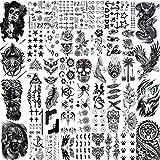 LAROI 50 Blätter Schwarz Temporäre Tattoos Männer Erwachsene Adler Drache Löwe Wolf Tiere, Klein Temporäre Tattoos Frauen Hals Arm, Schädel Tattoo Aufkleber Kinder Jungen Mädchen Tatoos Herren Damen