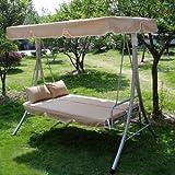Loywe Hollywoodschaukel mit Bettfunktion, 190x135x170cm Gartenschaukel Relex Schaukel Gartenliege, dicke Polster Sitzfläche, Farbe Beige, incl. 2 Kopfkissen, LW10Beige-NEW